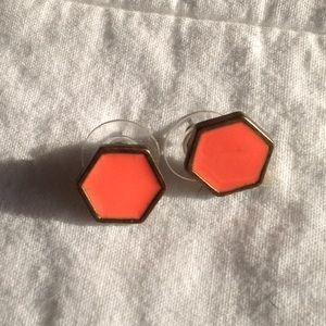 Coral Hexagon Stud Earrings